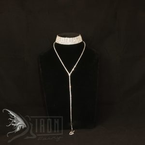 Slinky diamante choker with Y chain