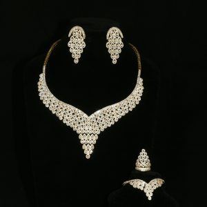 Statement Yellow Gold and Diamante Set