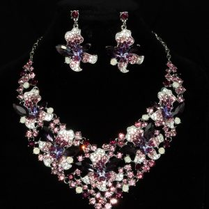 Floral Amethyst and Diamante Statement Jewellery Set