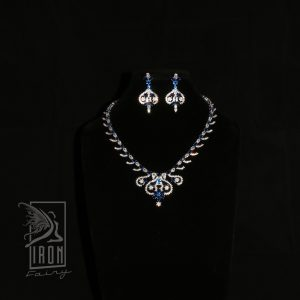 Striking Blue Sapphire and Diamante Set