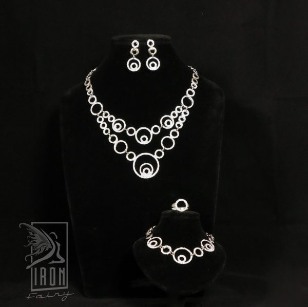 Modern Silver and Diamante Circle Jewellery Set