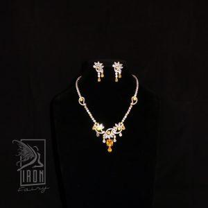 Unusual Yellow Citrine and Diamante Set